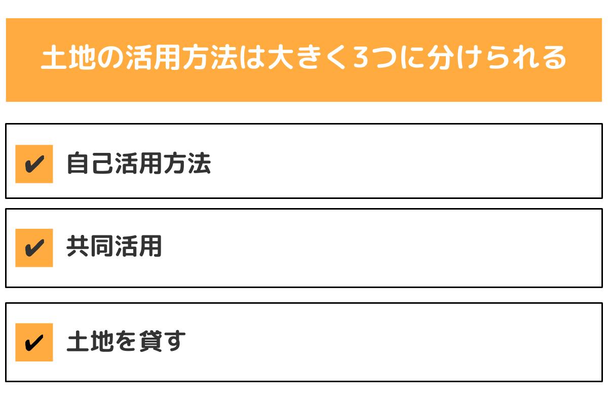 土地の活用方法は大きく3つに分けられる